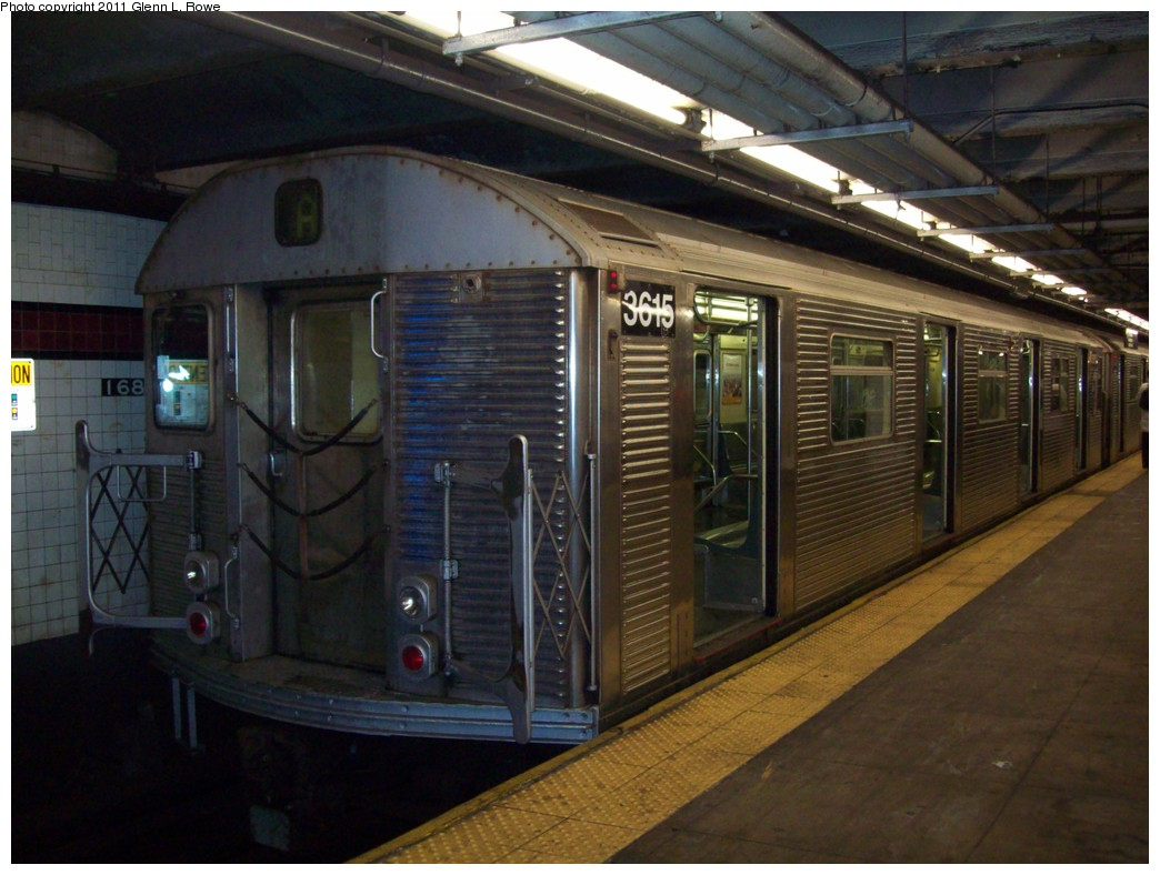 (203k, 1044x788)<br><b>Country:</b> United States<br><b>City:</b> New York<br><b>System:</b> New York City Transit<br><b>Line:</b> IND 8th Avenue Line<br><b>Location:</b> 168th Street <br><b>Route:</b> A<br><b>Car:</b> R-32 (Budd, 1964)  3615 <br><b>Photo by:</b> Glenn L. Rowe<br><b>Date:</b> 3/16/2011<br><b>Viewed (this week/total):</b> 1 / 1239