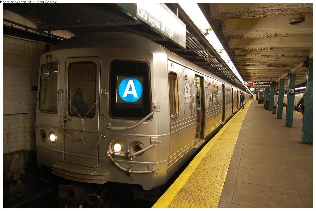 (217k, 1044x699)<br><b>Country:</b> United States<br><b>City:</b> New York<br><b>System:</b> New York City Transit<br><b>Line:</b> IND 8th Avenue Line<br><b>Location:</b> 175th Street/George Washington Bridge Bus Terminal <br><b>Route:</b> A<br><b>Car:</b> R-46 (Pullman-Standard, 1974-75) 6060 <br><b>Photo by:</b> John Dooley<br><b>Date:</b> 12/3/2010<br><b>Viewed (this week/total):</b> 4 / 2024