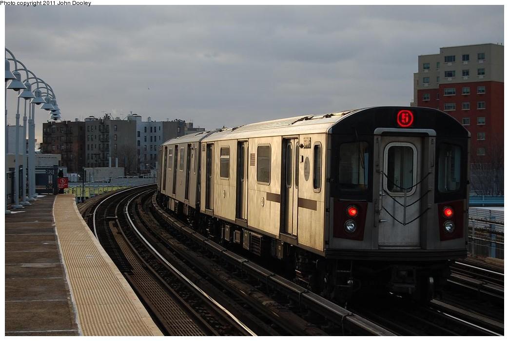 (197k, 1044x699)<br><b>Country:</b> United States<br><b>City:</b> New York<br><b>System:</b> New York City Transit<br><b>Line:</b> IRT White Plains Road Line<br><b>Location:</b> West Farms Sq./East Tremont Ave./177th St. <br><b>Route:</b> 5<br><b>Car:</b> R-142 (Primary Order, Bombardier, 1999-2002)  6706 <br><b>Photo by:</b> John Dooley<br><b>Date:</b> 12/14/2010<br><b>Viewed (this week/total):</b> 2 / 1218