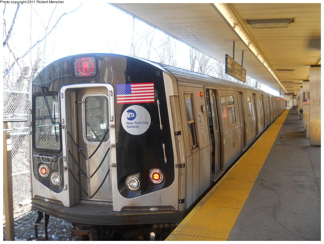(287k, 1044x788)<br><b>Country:</b> United States<br><b>City:</b> New York<br><b>System:</b> New York City Transit<br><b>Line:</b> BMT Myrtle Avenue Line<br><b>Location:</b> Metropolitan Avenue <br><b>Route:</b> M<br><b>Car:</b> R-160A-1 (Alstom, 2005-2008, 4 car sets)  8404 <br><b>Photo by:</b> Robert Mencher<br><b>Date:</b> 3/26/2011<br><b>Viewed (this week/total):</b> 4 / 1249