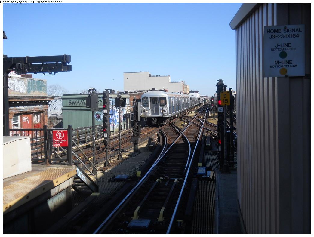 (257k, 1044x788)<br><b>Country:</b> United States<br><b>City:</b> New York<br><b>System:</b> New York City Transit<br><b>Line:</b> BMT Nassau Street/Jamaica Line<br><b>Location:</b> Myrtle Avenue <br><b>Route:</b> J<br><b>Car:</b> R-42 (St. Louis, 1969-1970)  4825 <br><b>Photo by:</b> Robert Mencher<br><b>Date:</b> 3/26/2011<br><b>Viewed (this week/total):</b> 0 / 1457
