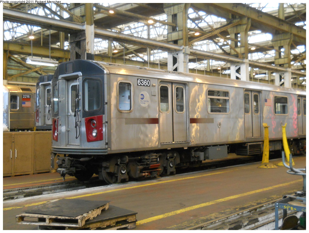 (291k, 1044x788)<br><b>Country:</b> United States<br><b>City:</b> New York<br><b>System:</b> New York City Transit<br><b>Location:</b> 207th Street Shop<br><b>Car:</b> R-142 (Primary Order, Bombardier, 1999-2002)  6360 <br><b>Photo by:</b> Robert Mencher<br><b>Date:</b> 3/27/2011<br><b>Viewed (this week/total):</b> 3 / 1118