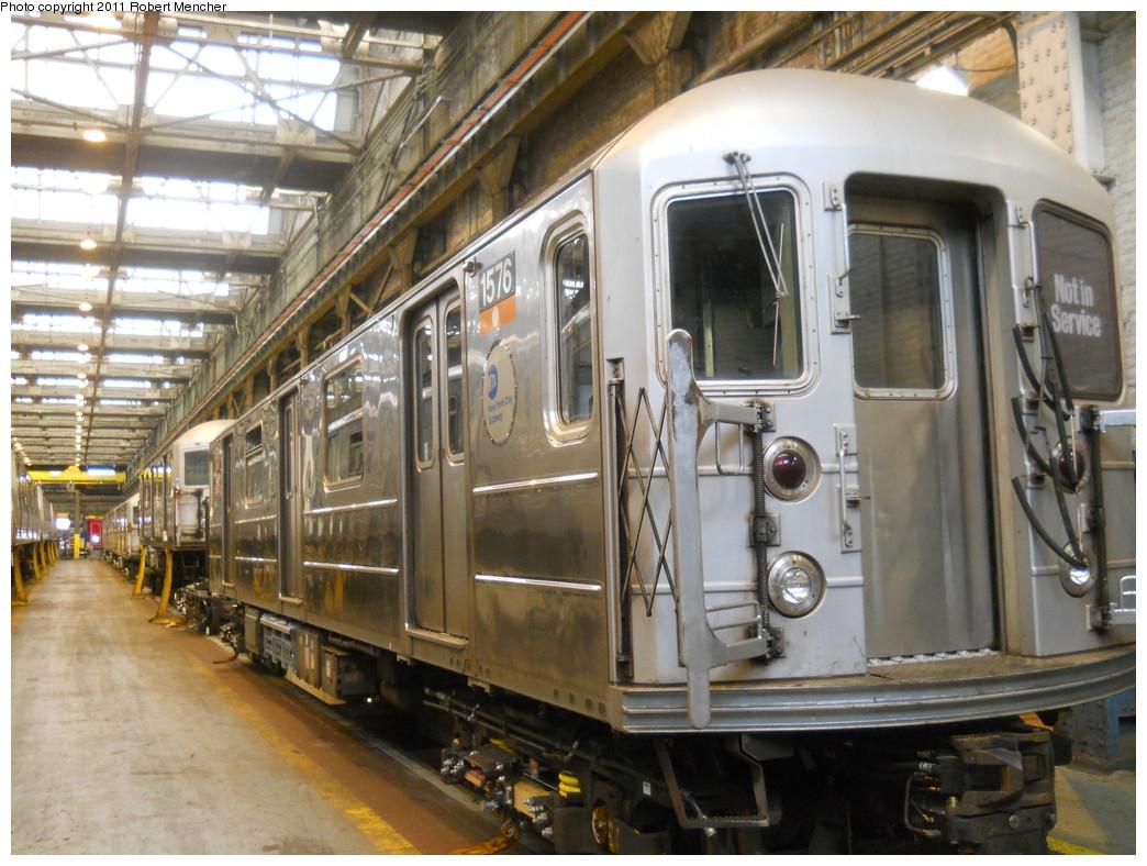 (292k, 1044x788)<br><b>Country:</b> United States<br><b>City:</b> New York<br><b>System:</b> New York City Transit<br><b>Location:</b> 207th Street Shop<br><b>Car:</b> R-62 (Kawasaki, 1983-1985)  1576 <br><b>Photo by:</b> Robert Mencher<br><b>Date:</b> 3/27/2011<br><b>Viewed (this week/total):</b> 3 / 712