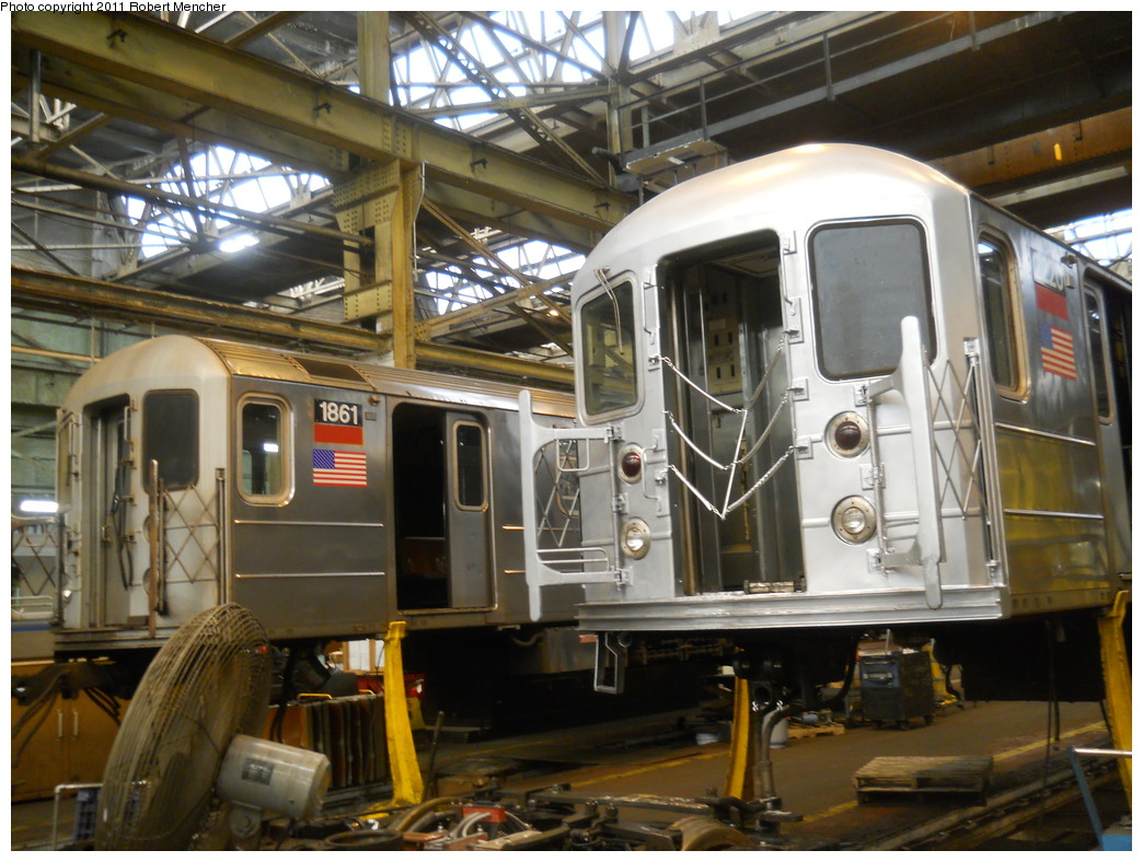 (289k, 1044x788)<br><b>Country:</b> United States<br><b>City:</b> New York<br><b>System:</b> New York City Transit<br><b>Location:</b> 207th Street Shop<br><b>Car:</b> R-62A (Bombardier, 1984-1987)  1861 <br><b>Photo by:</b> Robert Mencher<br><b>Date:</b> 3/27/2011<br><b>Viewed (this week/total):</b> 1 / 682