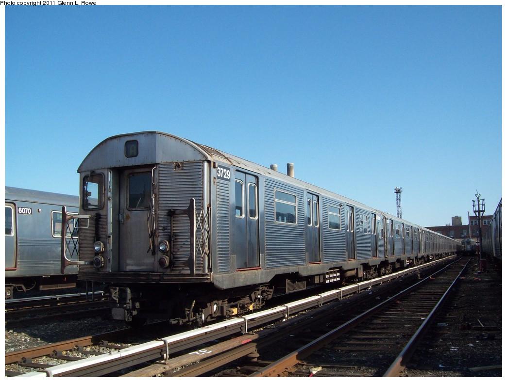 (204k, 1044x788)<br><b>Country:</b> United States<br><b>City:</b> New York<br><b>System:</b> New York City Transit<br><b>Location:</b> 207th Street Shop<br><b>Car:</b> R-32 (Budd, 1964)  3729 <br><b>Photo by:</b> Glenn L. Rowe<br><b>Date:</b> 3/25/2011<br><b>Notes:</b> Used in service on A morning of 3/25/2011<br><b>Viewed (this week/total):</b> 0 / 990