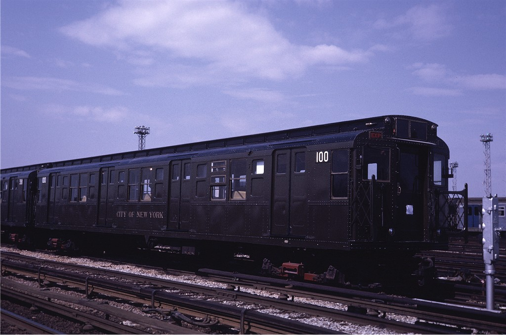 (162k, 1024x677)<br><b>Country:</b> United States<br><b>City:</b> New York<br><b>System:</b> New York City Transit<br><b>Location:</b> Coney Island Yard<br><b>Car:</b> R-1 (American Car & Foundry, 1930-1931) 100 <br><b>Photo by:</b> Steve Zabel<br><b>Collection of:</b> Joe Testagrose<br><b>Date:</b> 5/11/1971<br><b>Viewed (this week/total):</b> 2 / 783