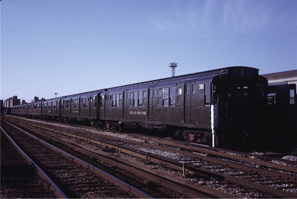 (188k, 1024x684)<br><b>Country:</b> United States<br><b>City:</b> New York<br><b>System:</b> New York City Transit<br><b>Location:</b> Coney Island Yard<br><b>Car:</b> R-1 (American Car & Foundry, 1930-1931) 381 <br><b>Photo by:</b> Steve Zabel<br><b>Collection of:</b> Joe Testagrose<br><b>Date:</b> 5/22/1971<br><b>Viewed (this week/total):</b> 0 / 846
