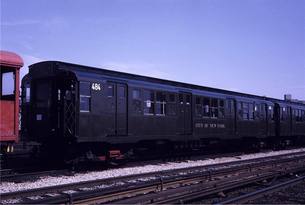 (195k, 1024x688)<br><b>Country:</b> United States<br><b>City:</b> New York<br><b>System:</b> New York City Transit<br><b>Location:</b> Coney Island Yard<br><b>Car:</b> R-4 (American Car & Foundry, 1932-1933) 484 <br><b>Photo by:</b> Steve Zabel<br><b>Collection of:</b> Joe Testagrose<br><b>Date:</b> 5/11/1971<br><b>Viewed (this week/total):</b> 1 / 701