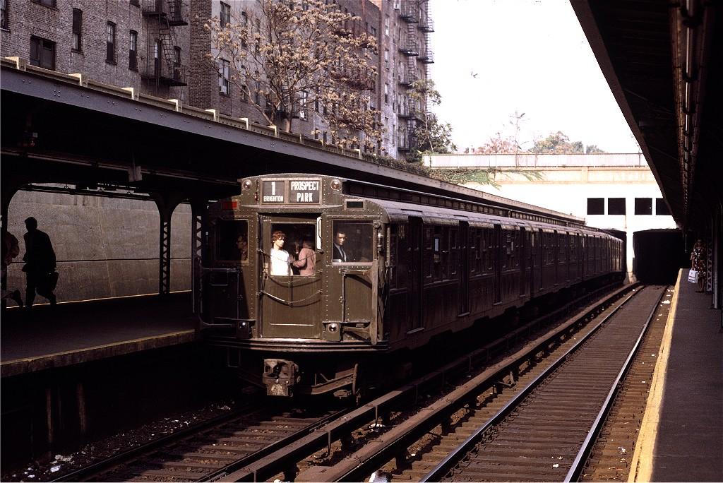 (239k, 1024x684)<br><b>Country:</b> United States<br><b>City:</b> New York<br><b>System:</b> New York City Transit<br><b>Line:</b> BMT Brighton Line<br><b>Location:</b> Prospect Park <br><b>Route:</b> Fan Trip<br><b>Car:</b> R-4 (American Car & Foundry, 1932-1933) 484 <br><b>Photo by:</b> Joe Testagrose<br><b>Date:</b> 10/30/1971<br><b>Viewed (this week/total):</b> 0 / 954