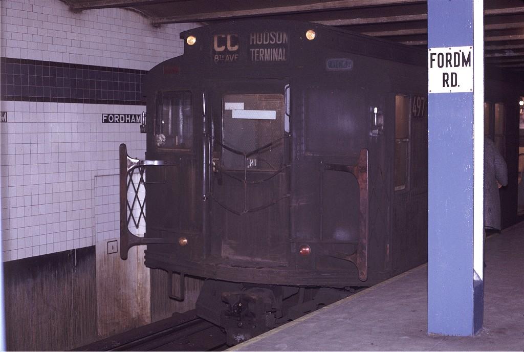 (176k, 1024x688)<br><b>Country:</b> United States<br><b>City:</b> New York<br><b>System:</b> New York City Transit<br><b>Line:</b> IND Concourse Line<br><b>Location:</b> Fordham Road <br><b>Route:</b> CC<br><b>Car:</b> R-4 (American Car & Foundry, 1932-1933) 497 <br><b>Photo by:</b> Joe Testagrose<br><b>Date:</b> 12/31/1970<br><b>Viewed (this week/total):</b> 0 / 1162
