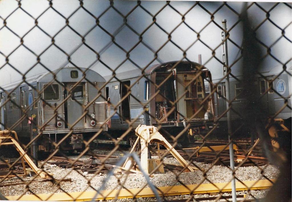 (372k, 1024x710)<br><b>Country:</b> United States<br><b>City:</b> New York<br><b>System:</b> New York City Transit<br><b>Location:</b> Coney Island Yard<br><b>Car:</b> R-32 (Budd, 1964)  3666 <br><b>Collection of:</b> Christopher Henderson<br><b>Date:</b> 7/1994<br><b>Notes:</b> With R44 288<br><b>Viewed (this week/total):</b> 1 / 928