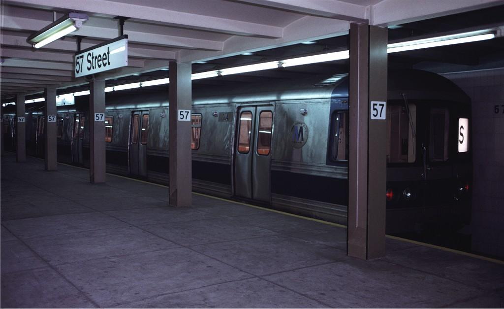 (131k, 1024x627)<br><b>Country:</b> United States<br><b>City:</b> New York<br><b>System:</b> New York City Transit<br><b>Line:</b> IND 6th Avenue Line<br><b>Location:</b> 57th Street <br><b>Route:</b> S<br><b>Car:</b> R-44 (St. Louis, 1971-73) 104 <br><b>Photo by:</b> Doug Grotjahn<br><b>Collection of:</b> Joe Testagrose<br><b>Date:</b> 5/5/1972<br><b>Viewed (this week/total):</b> 1 / 1688