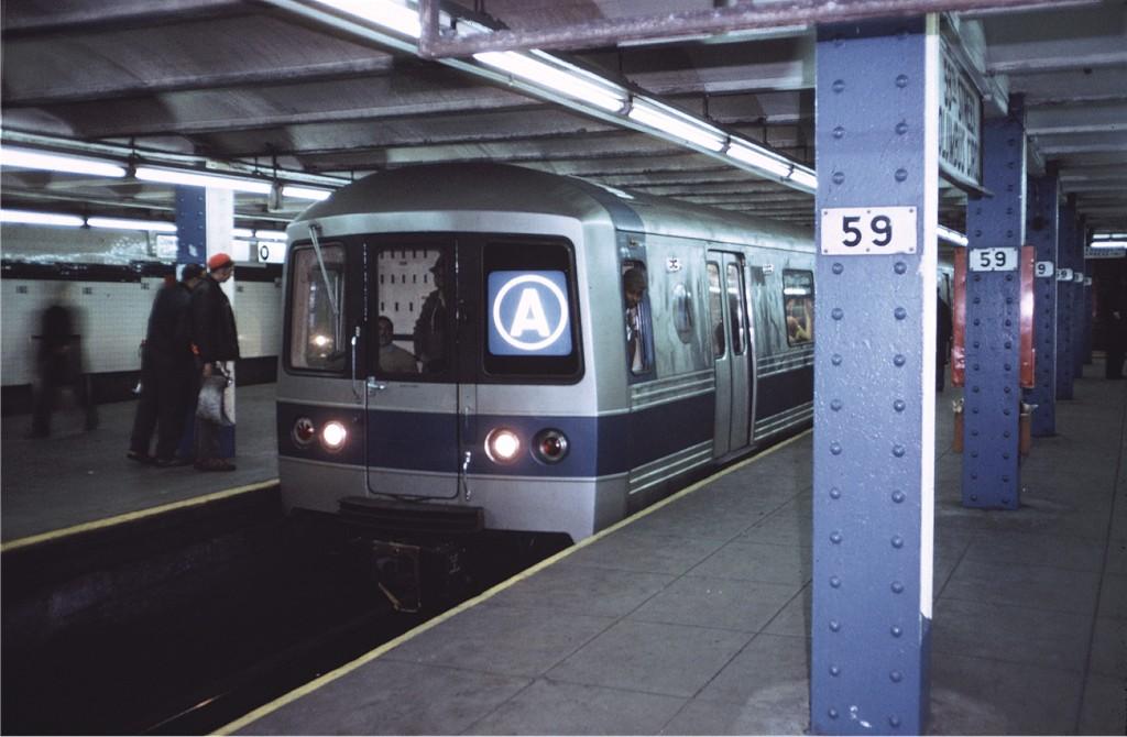 (151k, 1024x670)<br><b>Country:</b> United States<br><b>City:</b> New York<br><b>System:</b> New York City Transit<br><b>Line:</b> IND 8th Avenue Line<br><b>Location:</b> 59th Street/Columbus Circle <br><b>Route:</b> A<br><b>Car:</b> R-44 (St. Louis, 1971-73) 112 <br><b>Photo by:</b> Doug Grotjahn<br><b>Collection of:</b> Joe Testagrose<br><b>Date:</b> 1/27/1972<br><b>Viewed (this week/total):</b> 0 / 1650