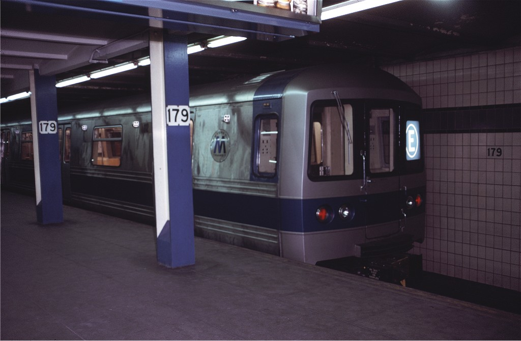 (122k, 1024x670)<br><b>Country:</b> United States<br><b>City:</b> New York<br><b>System:</b> New York City Transit<br><b>Line:</b> IND Queens Boulevard Line<br><b>Location:</b> 179th Street <br><b>Route:</b> E<br><b>Car:</b> R-44 (St. Louis, 1971-73) 112 <br><b>Photo by:</b> Doug Grotjahn<br><b>Collection of:</b> Joe Testagrose<br><b>Date:</b> 12/16/1971<br><b>Viewed (this week/total):</b> 3 / 1700