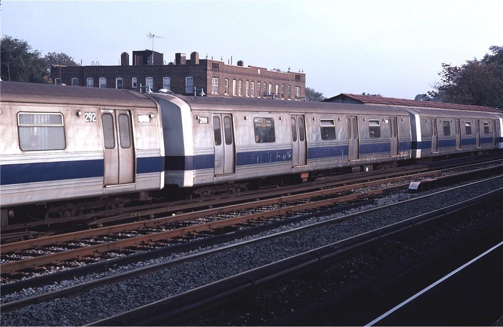 (196k, 1024x667)<br><b>Country:</b> United States<br><b>City:</b> New York<br><b>System:</b> New York City Transit<br><b>Line:</b> BMT Brighton Line<br><b>Location:</b> Avenue M <br><b>Route:</b> D<br><b>Car:</b> R-44 (St. Louis, 1971-73) 289 <br><b>Photo by:</b> Doug Grotjahn<br><b>Collection of:</b> Joe Testagrose<br><b>Date:</b> 10/20/1979<br><b>Viewed (this week/total):</b> 0 / 1338