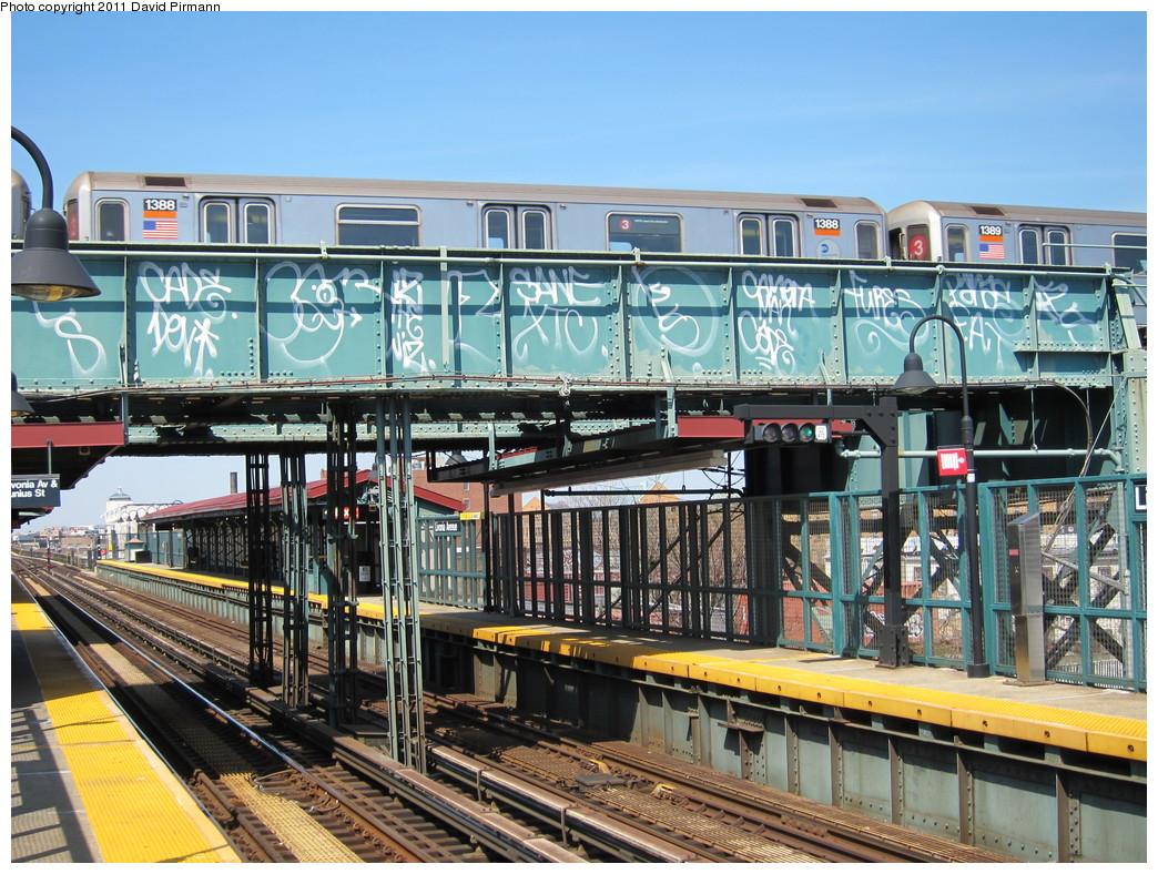 (299k, 1044x788)<br><b>Country:</b> United States<br><b>City:</b> New York<br><b>System:</b> New York City Transit<br><b>Line:</b> BMT Canarsie Line<br><b>Location:</b> Livonia Avenue <br><b>Route:</b> 3<br><b>Car:</b> R-62 (Kawasaki, 1983-1985)  1388 <br><b>Photo by:</b> David Pirmann<br><b>Date:</b> 4/9/2011<br><b>Notes:</b> View of IRT from Canarsie line platform.<br><b>Viewed (this week/total):</b> 1 / 1538