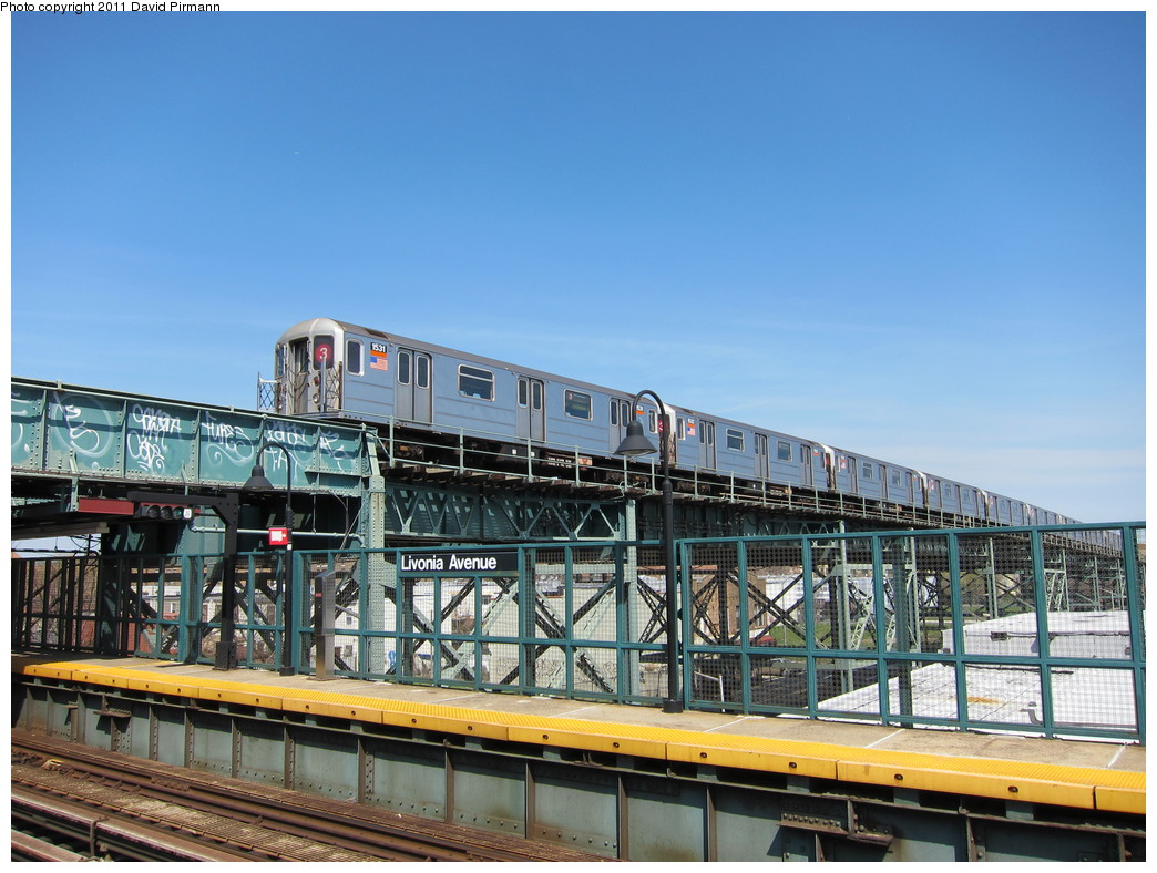 (233k, 1044x788)<br><b>Country:</b> United States<br><b>City:</b> New York<br><b>System:</b> New York City Transit<br><b>Line:</b> BMT Canarsie Line<br><b>Location:</b> Livonia Avenue <br><b>Route:</b> 3<br><b>Car:</b> R-62 (Kawasaki, 1983-1985)  1531 <br><b>Photo by:</b> David Pirmann<br><b>Date:</b> 4/9/2011<br><b>Notes:</b> View of IRT from Canarsie line platform.<br><b>Viewed (this week/total):</b> 0 / 1259