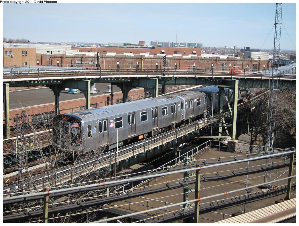 (337k, 1044x788)<br><b>Country:</b> United States<br><b>City:</b> New York<br><b>System:</b> New York City Transit<br><b>Line:</b> BMT Nassau Street/Jamaica Line<br><b>Location:</b> Broadway/East New York (Broadway Junction) <br><b>Route:</b> J<br><b>Car:</b> R-160A-1 (Alstom, 2005-2008, 4 car sets)  8584 <br><b>Photo by:</b> David Pirmann<br><b>Date:</b> 4/9/2011<br><b>Viewed (this week/total):</b> 2 / 1492