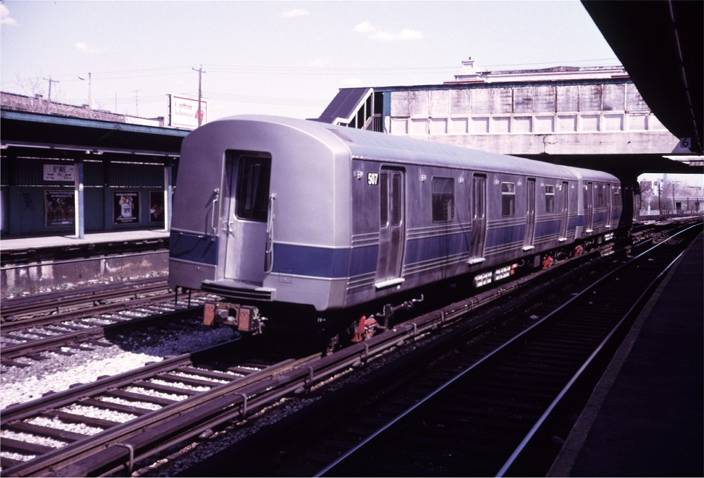 (166k, 1024x696)<br><b>Country:</b> United States<br><b>City:</b> New York<br><b>System:</b> New York City Transit<br><b>Line:</b> BMT Sea Beach Line<br><b>Location:</b> 8th Avenue <br><b>Car:</b> R-46 (Pullman-Standard, 1974-75) 507 <br><b>Photo by:</b> Doug Grotjahn<br><b>Collection of:</b> Joe Testagrose<br><b>Date:</b> 4/26/1975<br><b>Viewed (this week/total):</b> 2 / 1621