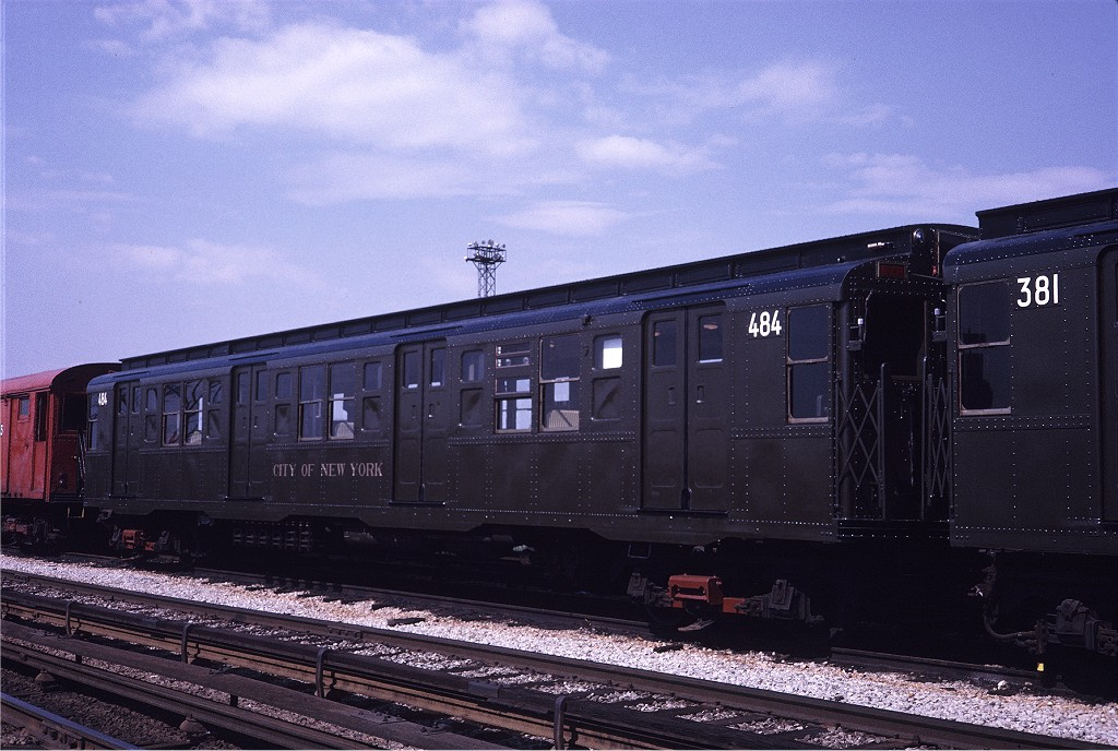 (203k, 1024x688)<br><b>Country:</b> United States<br><b>City:</b> New York<br><b>System:</b> New York City Transit<br><b>Location:</b> Coney Island Yard<br><b>Car:</b> R-4 (American Car & Foundry, 1932-1933) 484 <br><b>Photo by:</b> Steve Zabel<br><b>Collection of:</b> Joe Testagrose<br><b>Date:</b> 5/11/1971<br><b>Viewed (this week/total):</b> 0 / 694