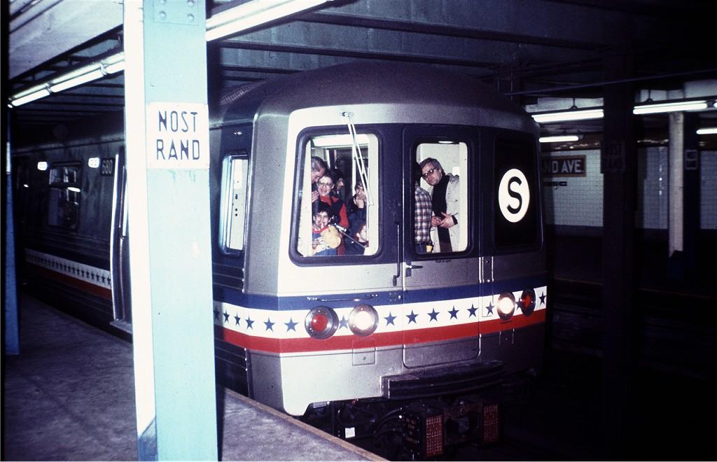 (162k, 1024x660)<br><b>Country:</b> United States<br><b>City:</b> New York<br><b>System:</b> New York City Transit<br><b>Line:</b> IND Fulton Street Line<br><b>Location:</b> Nostrand Avenue <br><b>Route:</b> Fan Trip<br><b>Car:</b> R-46 (Pullman-Standard, 1974-75) 680 <br><b>Photo by:</b> Steve Zabel<br><b>Collection of:</b> Joe Testagrose<br><b>Date:</b> 2/26/1977<br><b>Viewed (this week/total):</b> 3 / 1330