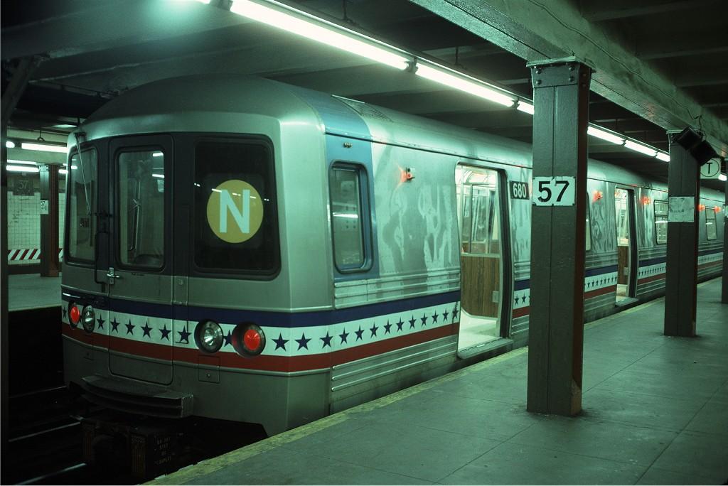 (172k, 1024x684)<br><b>Country:</b> United States<br><b>City:</b> New York<br><b>System:</b> New York City Transit<br><b>Line:</b> BMT Broadway Line<br><b>Location:</b> 57th Street <br><b>Route:</b> N<br><b>Car:</b> R-46 (Pullman-Standard, 1974-75) 680 <br><b>Photo by:</b> Doug Grotjahn<br><b>Collection of:</b> Joe Testagrose<br><b>Date:</b> 5/14/1977<br><b>Viewed (this week/total):</b> 0 / 1742