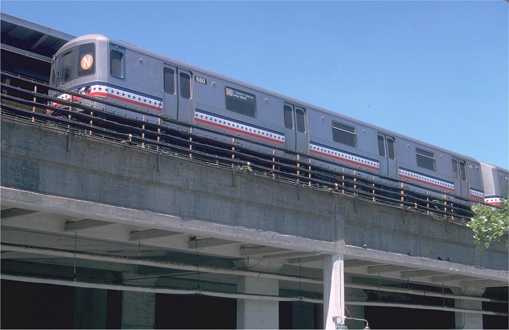 (169k, 1024x664)<br><b>Country:</b> United States<br><b>City:</b> New York<br><b>System:</b> New York City Transit<br><b>Location:</b> Coney Island/Stillwell Avenue<br><b>Route:</b> N<br><b>Car:</b> R-46 (Pullman-Standard, 1974-75) 680 <br><b>Photo by:</b> Doug Grotjahn<br><b>Collection of:</b> Joe Testagrose<br><b>Date:</b> 5/14/1977<br><b>Viewed (this week/total):</b> 0 / 1389