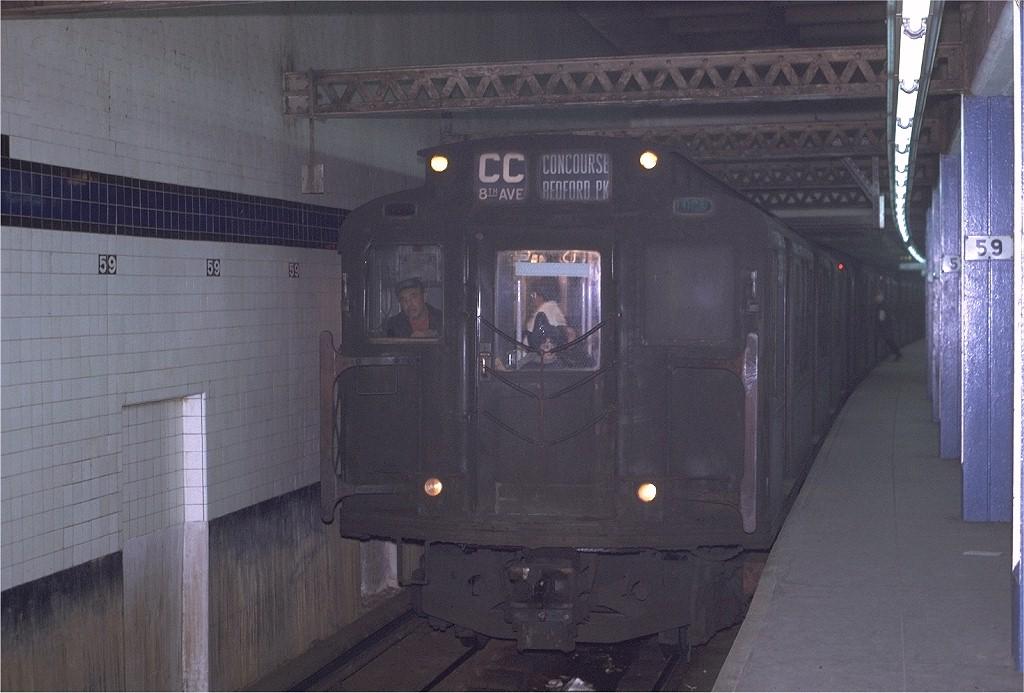(178k, 1024x693)<br><b>Country:</b> United States<br><b>City:</b> New York<br><b>System:</b> New York City Transit<br><b>Line:</b> IND 8th Avenue Line<br><b>Location:</b> 59th Street/Columbus Circle <br><b>Route:</b> CC<br><b>Car:</b> R-4 (American Car & Foundry, 1932-1933) 785 <br><b>Photo by:</b> Joe Testagrose<br><b>Date:</b> 11/27/1970<br><b>Viewed (this week/total):</b> 0 / 1548