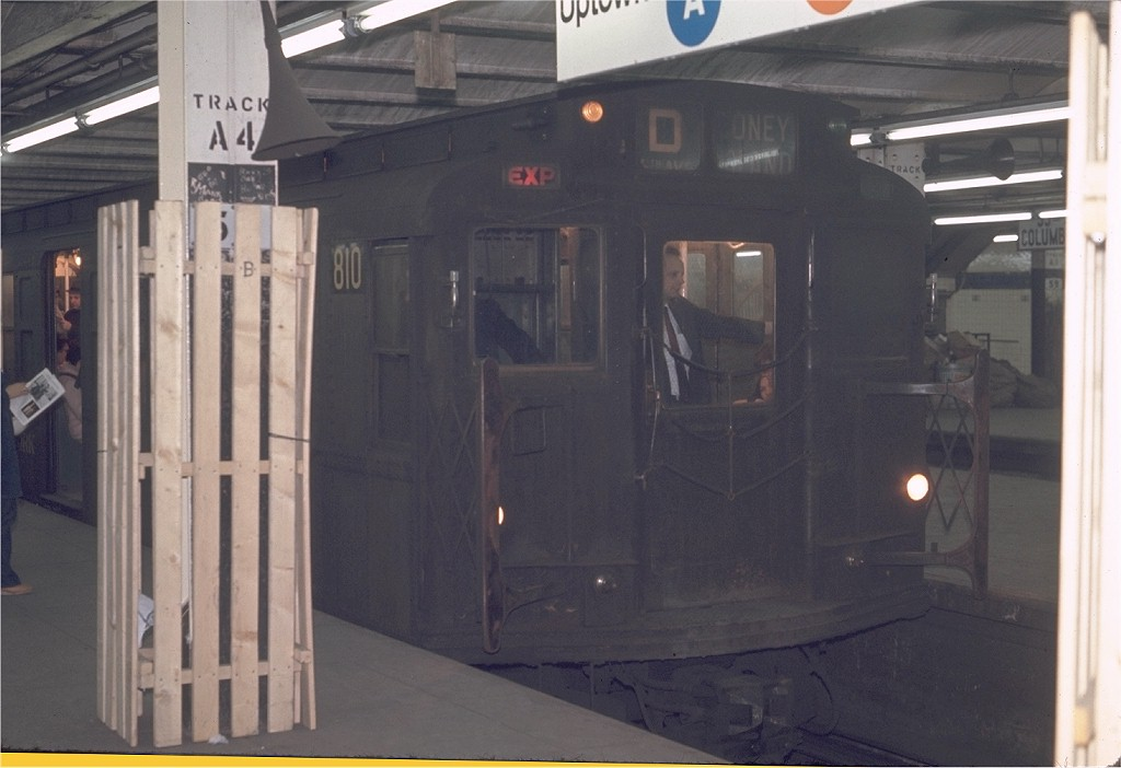 (141k, 1024x702)<br><b>Country:</b> United States<br><b>City:</b> New York<br><b>System:</b> New York City Transit<br><b>Line:</b> IND 8th Avenue Line<br><b>Location:</b> 59th Street/Columbus Circle <br><b>Route:</b> D<br><b>Car:</b> R-4 (American Car & Foundry, 1932-1933) 810 <br><b>Photo by:</b> Joe Testagrose<br><b>Date:</b> 5/6/1970<br><b>Viewed (this week/total):</b> 5 / 1637
