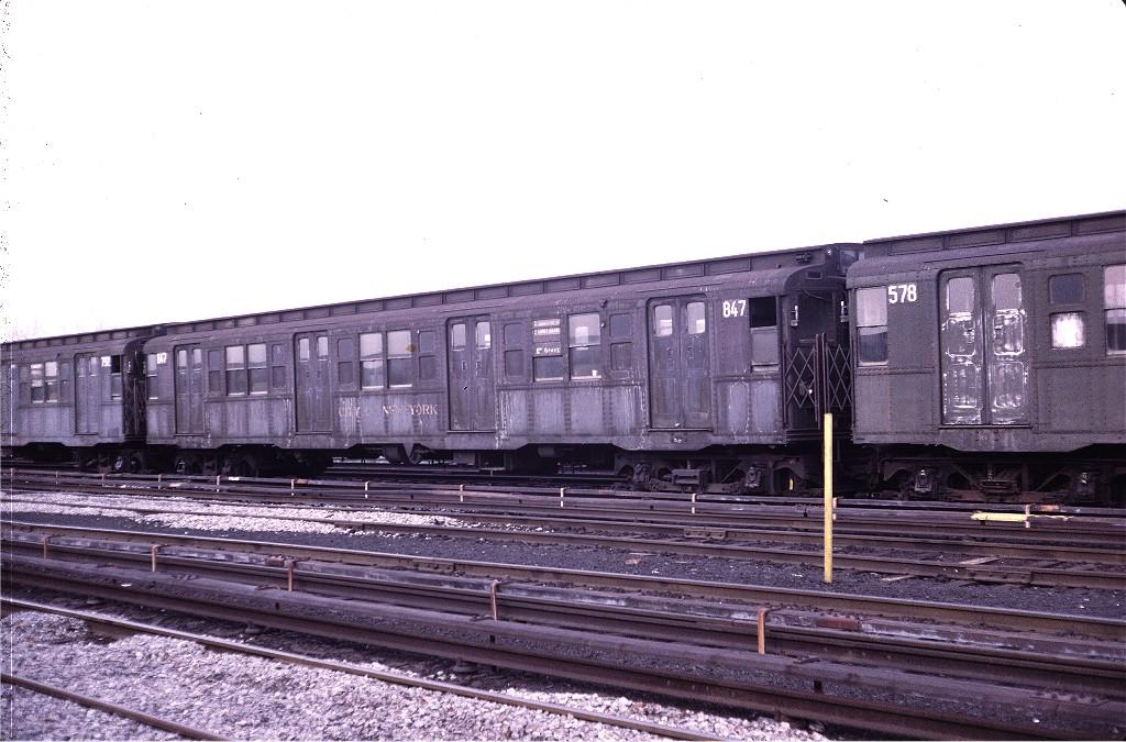 (195k, 1024x675)<br><b>Country:</b> United States<br><b>City:</b> New York<br><b>System:</b> New York City Transit<br><b>Location:</b> Coney Island Yard<br><b>Car:</b> R-4 (American Car & Foundry, 1932-1933) 847 <br><b>Photo by:</b> Steve Zabel<br><b>Collection of:</b> Joe Testagrose<br><b>Date:</b> 4/29/1972<br><b>Viewed (this week/total):</b> 0 / 838