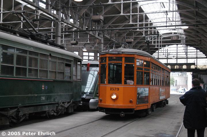 (170k, 720x478)<br><b>Country:</b> Italy<br><b>City:</b> Milan<br><b>System:</b> Azienda Trasporti Milanesi (ATM)<br><b>Location:</b> Deposito Ticinese <br><b>Car:</b> Milan Milano/Peter Witt (1927-1930)  1579 <br><b>Photo by:</b> Peter Ehrlich<br><b>Date:</b> 3/21/2005<br><b>Viewed (this week/total):</b> 1 / 1851