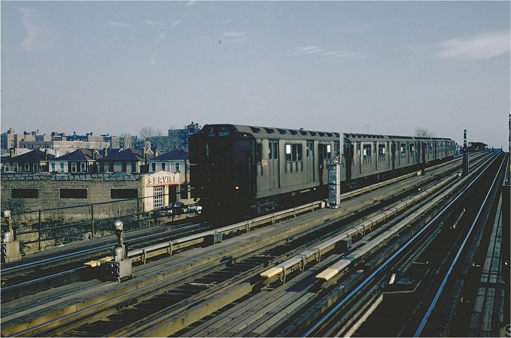 (234k, 1024x679)<br><b>Country:</b> United States<br><b>City:</b> New York<br><b>System:</b> New York City Transit<br><b>Line:</b> IRT Flushing Line<br><b>Location:</b> 74th Street/Broadway<br><b>Route:</b> 7<br><b>Car:</b> R-12 (American Car & Foundry, 1948) 5742 <br><b>Collection of:</b> Joe Testagrose<br><b>Notes:</b> View northeast from NYCRR crossing/71st St. circa 1958.<br><b>Viewed (this week/total):</b> 1 / 4224