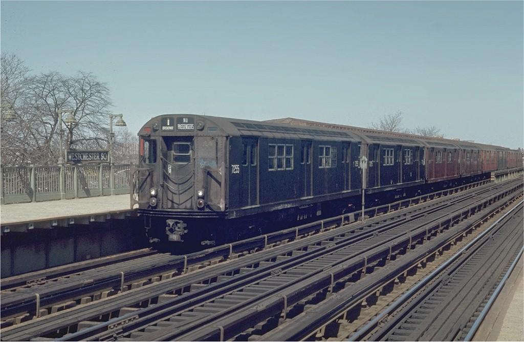 (185k, 1024x668)<br><b>Country:</b> United States<br><b>City:</b> New York<br><b>System:</b> New York City Transit<br><b>Line:</b> IRT Pelham Line<br><b>Location:</b> Westchester Square <br><b>Route:</b> 6<br><b>Car:</b> R-21 (St. Louis, 1956-57) 7255 <br><b>Photo by:</b> Joe Testagrose<br><b>Date:</b> 4/12/1970<br><b>Viewed (this week/total):</b> 1 / 2776