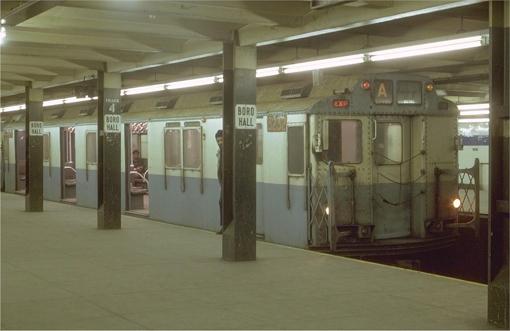 (151k, 1024x665)<br><b>Country:</b> United States<br><b>City:</b> New York<br><b>System:</b> New York City Transit<br><b>Line:</b> IND 8th Avenue Line<br><b>Location:</b> Jay St./Metrotech (Borough Hall) <br><b>Route:</b> A<br><b>Car:</b> R-10 (American Car & Foundry, 1948) 3232 <br><b>Photo by:</b> Joe Testagrose<br><b>Date:</b> 1/11/1970<br><b>Viewed (this week/total):</b> 3 / 4077