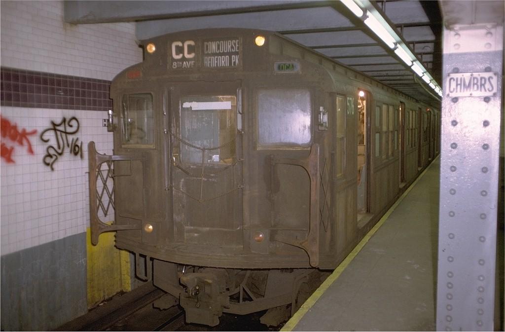 (153k, 1024x673)<br><b>Country:</b> United States<br><b>City:</b> New York<br><b>System:</b> New York City Transit<br><b>Line:</b> IND 8th Avenue Line<br><b>Location:</b> Chambers Street/World Trade Center <br><b>Route:</b> CC<br><b>Car:</b> R-1 (American Car & Foundry, 1930-1931) 576 (ex-369)<br><b>Photo by:</b> Doug Grotjahn<br><b>Collection of:</b> Joe Testagrose<br><b>Date:</b> 11/22/1972<br><b>Viewed (this week/total):</b> 17 / 3756