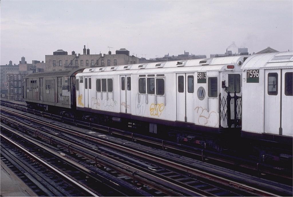 (181k, 1024x691)<br><b>Country:</b> United States<br><b>City:</b> New York<br><b>System:</b> New York City Transit<br><b>Line:</b> IRT White Plains Road Line<br><b>Location:</b> Intervale Avenue <br><b>Route:</b> 2<br><b>Car:</b> R-14 (American Car & Foundry, 1949) 5813 <br><b>Photo by:</b> Doug Grotjahn<br><b>Collection of:</b> Joe Testagrose<br><b>Date:</b> 12/24/1982<br><b>Viewed (this week/total):</b> 5 / 4701