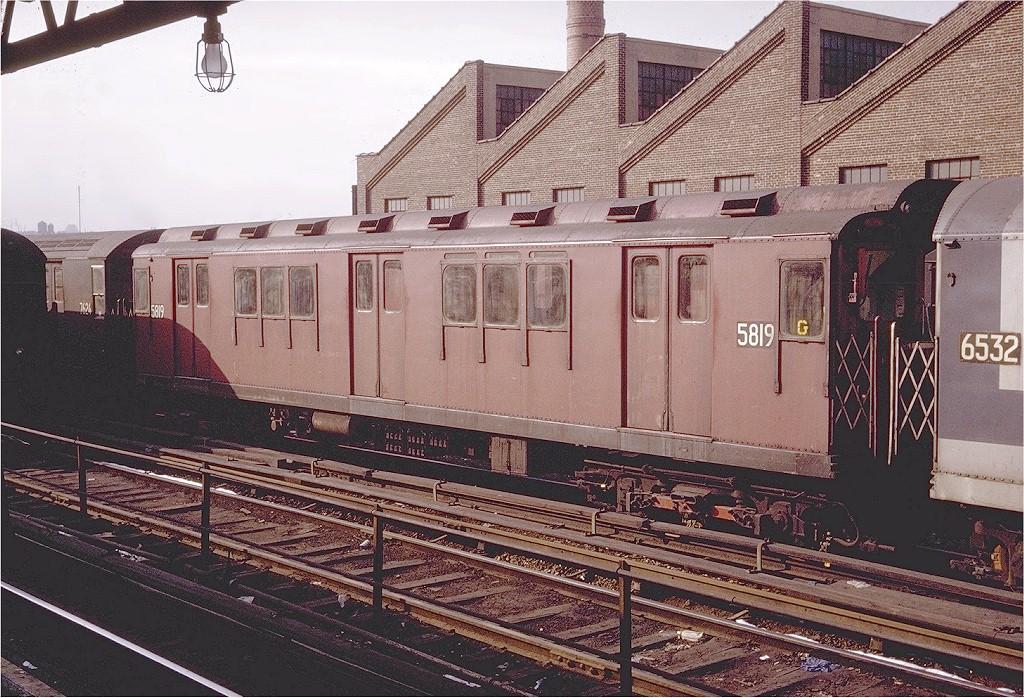 (274k, 1024x698)<br><b>Country:</b> United States<br><b>City:</b> New York<br><b>System:</b> New York City Transit<br><b>Location:</b> East 180th Street Yard<br><b>Car:</b> R-14 (American Car & Foundry, 1949) 5819 <br><b>Photo by:</b> Doug Grotjahn<br><b>Collection of:</b> Joe Testagrose<br><b>Date:</b> 1/10/1971<br><b>Viewed (this week/total):</b> 0 / 2442