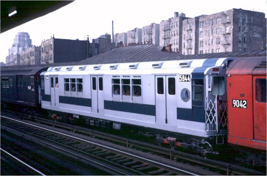 (158k, 1024x678)<br><b>Country:</b> United States<br><b>City:</b> New York<br><b>System:</b> New York City Transit<br><b>Line:</b> IRT White Plains Road Line<br><b>Location:</b> 174th Street <br><b>Car:</b> R-14 (American Car & Foundry, 1949) 5844 <br><b>Photo by:</b> Steve Zabel<br><b>Collection of:</b> Joe Testagrose<br><b>Date:</b> 10/12/1970<br><b>Viewed (this week/total):</b> 0 / 3316