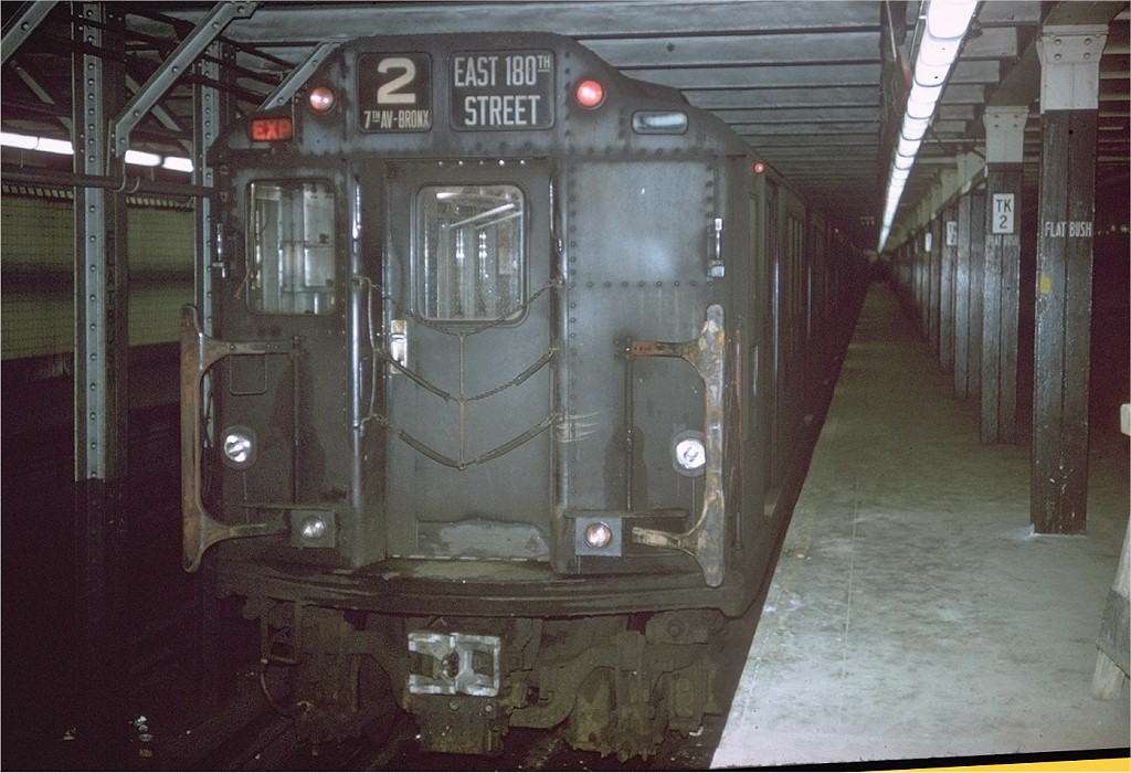 (197k, 1024x700)<br><b>Country:</b> United States<br><b>City:</b> New York<br><b>System:</b> New York City Transit<br><b>Line:</b> IRT Brooklyn Line<br><b>Location:</b> Flatbush Avenue <br><b>Route:</b> 2<br><b>Car:</b> R-14 (American Car & Foundry, 1949) 5848 <br><b>Photo by:</b> Joe Testagrose<br><b>Date:</b> 1/1/1964<br><b>Viewed (this week/total):</b> 1 / 5812