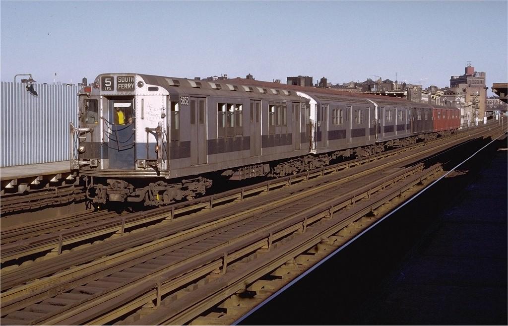 (191k, 1024x657)<br><b>Country:</b> United States<br><b>City:</b> New York<br><b>System:</b> New York City Transit<br><b>Line:</b> IRT White Plains Road Line<br><b>Location:</b> Intervale Avenue <br><b>Route:</b> 5<br><b>Car:</b> R-14 (American Car & Foundry, 1949) 5852 <br><b>Photo by:</b> Doug Grotjahn<br><b>Collection of:</b> Joe Testagrose<br><b>Date:</b> 12/11/1971<br><b>Viewed (this week/total):</b> 1 / 2987
