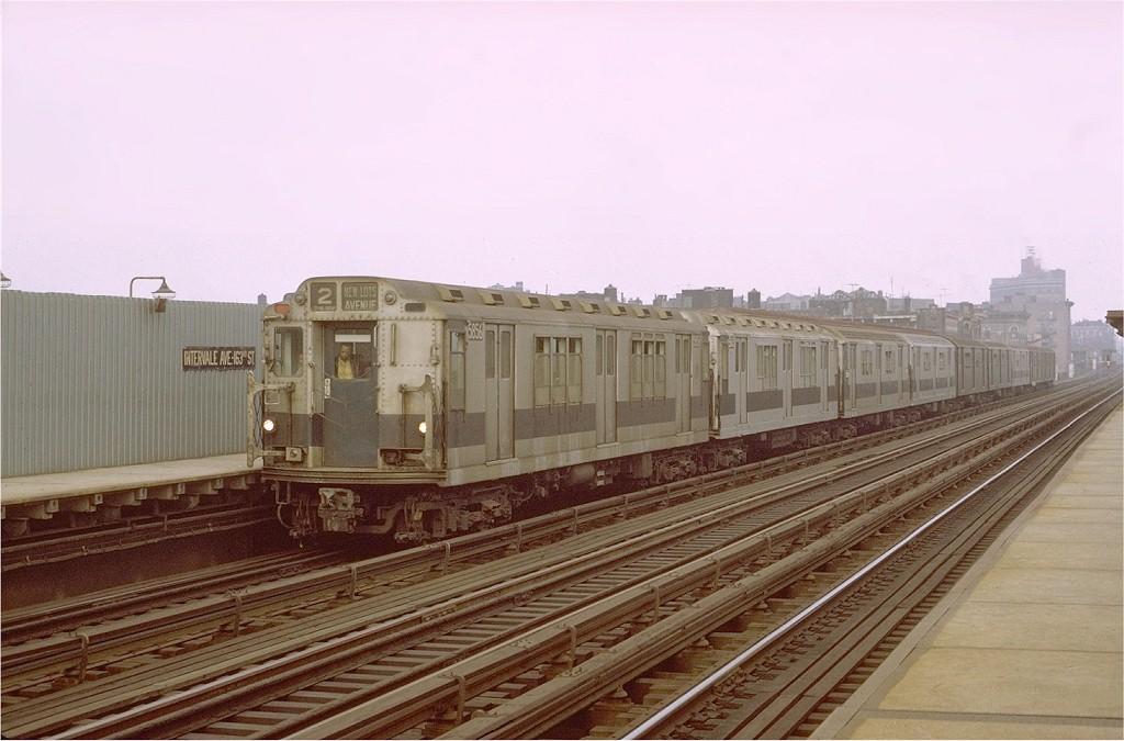 (165k, 1024x675)<br><b>Country:</b> United States<br><b>City:</b> New York<br><b>System:</b> New York City Transit<br><b>Line:</b> IRT White Plains Road Line<br><b>Location:</b> Intervale Avenue <br><b>Route:</b> 2<br><b>Car:</b> R-14 (American Car & Foundry, 1949) 5856 <br><b>Photo by:</b> Joe Testagrose<br><b>Date:</b> 10/23/1971<br><b>Viewed (this week/total):</b> 2 / 3087