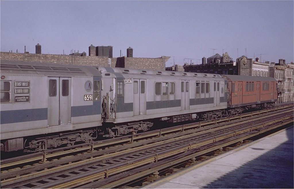 (195k, 1024x660)<br><b>Country:</b> United States<br><b>City:</b> New York<br><b>System:</b> New York City Transit<br><b>Line:</b> IRT White Plains Road Line<br><b>Location:</b> Intervale Avenue <br><b>Car:</b> R-14 (American Car & Foundry, 1949) 5856 <br><b>Photo by:</b> Steve Zabel<br><b>Collection of:</b> Joe Testagrose<br><b>Date:</b> 2/6/1971<br><b>Viewed (this week/total):</b> 0 / 2469
