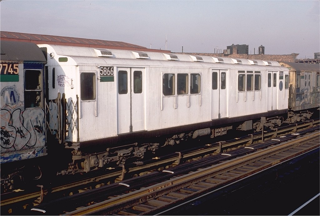 (201k, 1024x691)<br><b>Country:</b> United States<br><b>City:</b> New York<br><b>System:</b> New York City Transit<br><b>Line:</b> IRT White Plains Road Line<br><b>Location:</b> Intervale Avenue <br><b>Route:</b> 2<br><b>Car:</b> R-14 (American Car & Foundry, 1949) 5866 <br><b>Photo by:</b> Doug Grotjahn<br><b>Collection of:</b> Joe Testagrose<br><b>Date:</b> 12/24/1982<br><b>Viewed (this week/total):</b> 0 / 4524