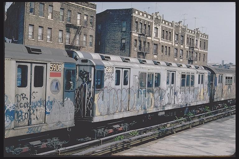 (160k, 768x512)<br><b>Country:</b> United States<br><b>City:</b> New York<br><b>System:</b> New York City Transit<br><b>Line:</b> IRT West Side Line<br><b>Location:</b> Dyckman Street <br><b>Car:</b> R-14 (American Car & Foundry, 1949) 5881 <br><b>Photo by:</b> Steve Zabel<br><b>Collection of:</b> Joe Testagrose<br><b>Date:</b> 5/6/1981<br><b>Viewed (this week/total):</b> 1 / 5390