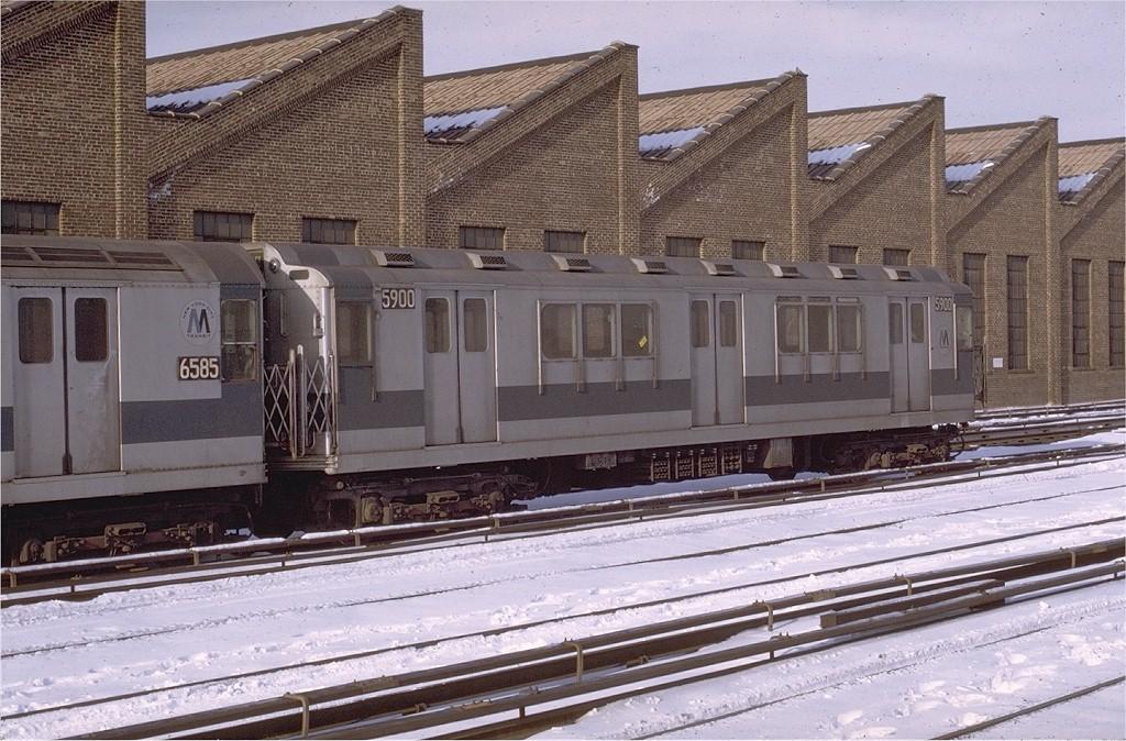 (235k, 1024x674)<br><b>Country:</b> United States<br><b>City:</b> New York<br><b>System:</b> New York City Transit<br><b>Location:</b> East 180th Street Yard<br><b>Car:</b> R-14 (American Car & Foundry, 1949) 5900 <br><b>Photo by:</b> Joe Testagrose<br><b>Date:</b> 1/2/1971<br><b>Viewed (this week/total):</b> 2 / 2496