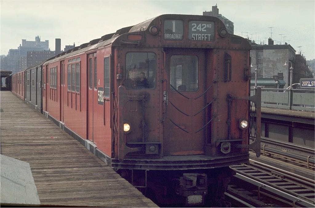 (169k, 1024x678)<br><b>Country:</b> United States<br><b>City:</b> New York<br><b>System:</b> New York City Transit<br><b>Line:</b> IRT West Side Line<br><b>Location:</b> 207th Street <br><b>Route:</b> 1<br><b>Car:</b> R-14 (American Car & Foundry, 1949) 5902 <br><b>Photo by:</b> Joe Testagrose<br><b>Date:</b> 4/4/1970<br><b>Viewed (this week/total):</b> 7 / 3458