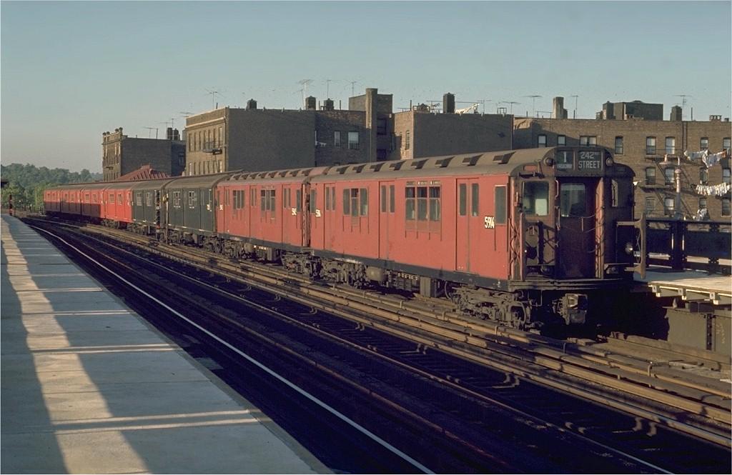 (173k, 1024x665)<br><b>Country:</b> United States<br><b>City:</b> New York<br><b>System:</b> New York City Transit<br><b>Line:</b> IRT West Side Line<br><b>Location:</b> 238th Street <br><b>Route:</b> 1<br><b>Car:</b> R-14 (American Car & Foundry, 1949) 5914 <br><b>Photo by:</b> Joe Testagrose<br><b>Date:</b> 5/30/1970<br><b>Viewed (this week/total):</b> 0 / 2598