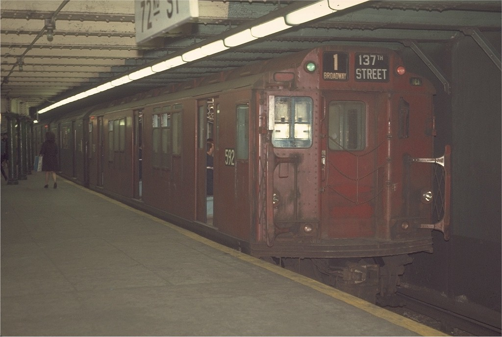 (140k, 1024x687)<br><b>Country:</b> United States<br><b>City:</b> New York<br><b>System:</b> New York City Transit<br><b>Line:</b> IRT West Side Line<br><b>Location:</b> 72nd Street <br><b>Route:</b> 1<br><b>Car:</b> R-14 (American Car & Foundry, 1949) 5921 <br><b>Photo by:</b> Joe Testagrose<br><b>Date:</b> 4/9/1970<br><b>Viewed (this week/total):</b> 0 / 2820