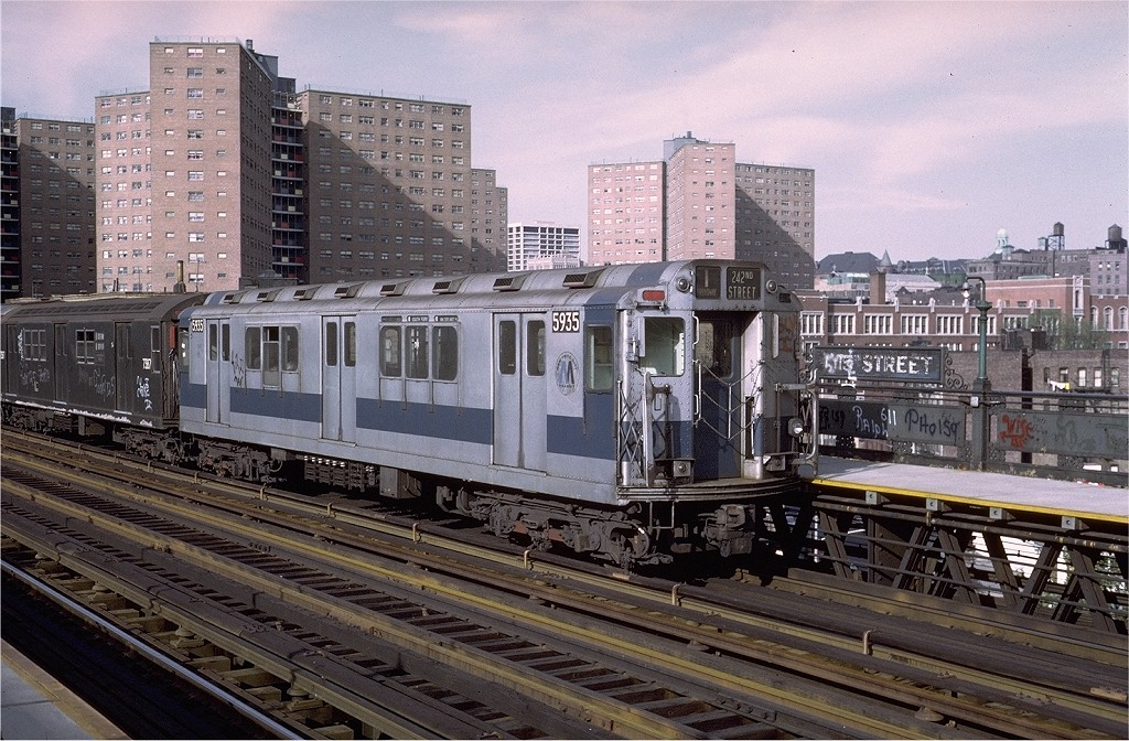(251k, 1024x672)<br><b>Country:</b> United States<br><b>City:</b> New York<br><b>System:</b> New York City Transit<br><b>Line:</b> IRT West Side Line<br><b>Location:</b> 125th Street <br><b>Car:</b> R-14 (American Car & Foundry, 1949) 5935 <br><b>Photo by:</b> Steve Zabel<br><b>Collection of:</b> Joe Testagrose<br><b>Date:</b> 5/21/1972<br><b>Viewed (this week/total):</b> 0 / 2684