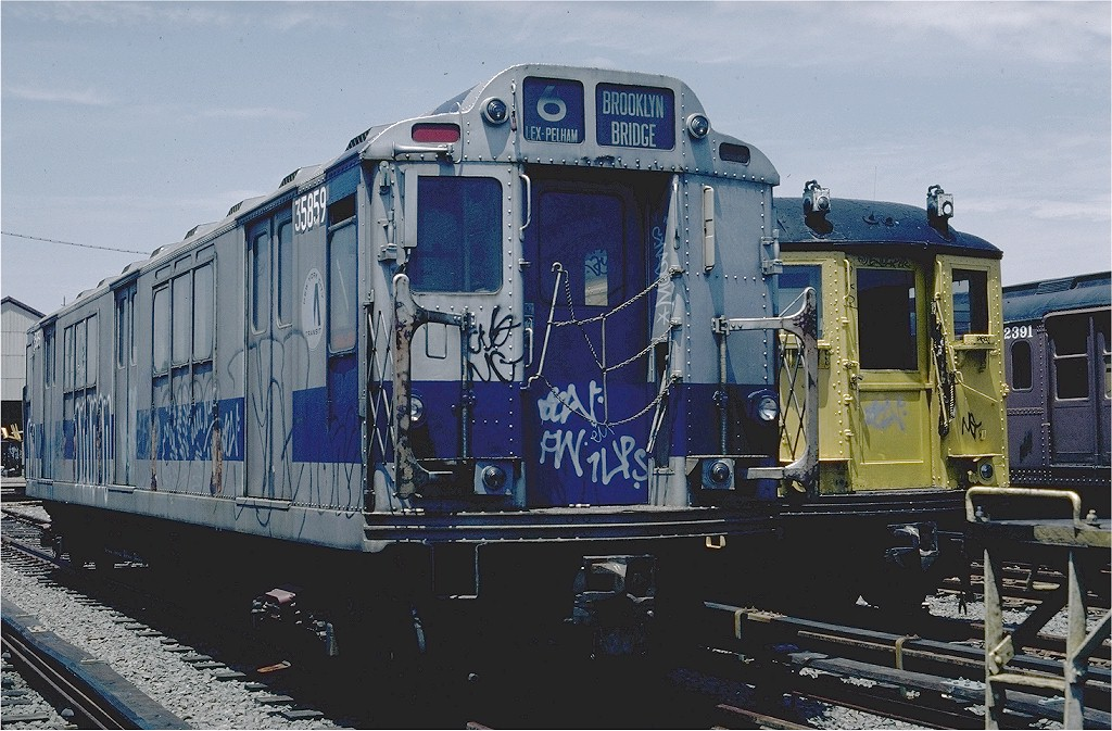 (219k, 1024x673)<br><b>Country:</b> United States<br><b>City:</b> New York<br><b>System:</b> New York City Transit<br><b>Location:</b> 36th Street Yard<br><b>Car:</b> R-14 (American Car & Foundry, 1949) 35859 (ex-5859)<br><b>Photo by:</b> Steve Zabel<br><b>Collection of:</b> Joe Testagrose<br><b>Date:</b> 6/17/1981<br><b>Viewed (this week/total):</b> 1 / 3890